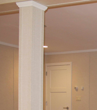 Easy Wrap column sleeves in basement