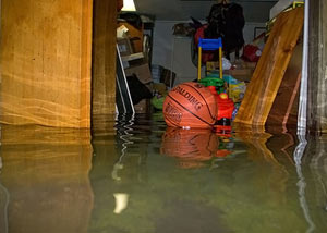 A flooded basement bedroom in Garnerville